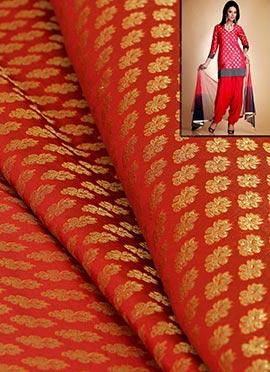 Brick Red Artsilk Brocade Patiala Suit