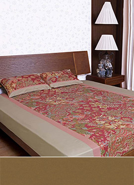 Brick Red N Biscuit Brown Pure Cotton Bed Sheet