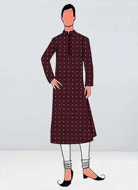 Brick Red Printed Cotton Linen Kurta Pyjama