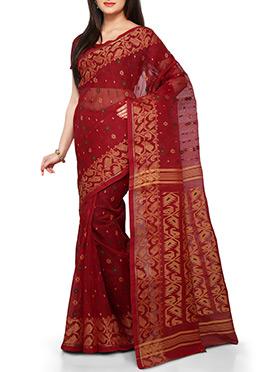 Brick Red Silk Cotton Bengal Handloom Saree