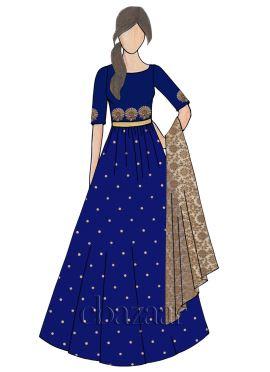Bright Blueprint Raw Silk Abaya Style Anarkali