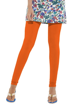 Go Colors Bright Orange Cotton Churidar Bottom