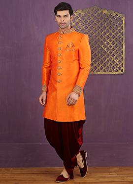 Bright Orange Dhoti Style Achkan Sherwani