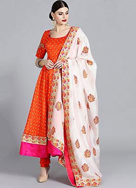 Bright Orange Embroidered Anarkali Suit