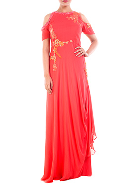 Bright Peach Georgette Draped Gown