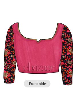 Bright Pink Art Silk Embroidered Blouse