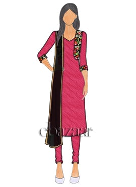 Bright Pink Art Silk Jacket Style Churidar Suit