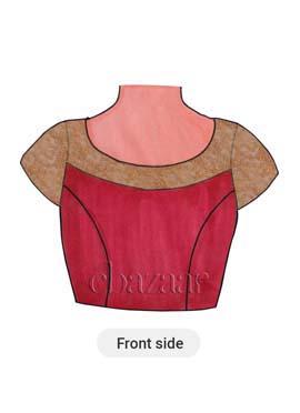 Bright Pink Art Silk Short Sleeve Blouse