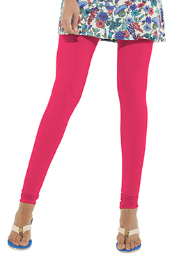 Go Colors Bright Pink Cotton Churidar Bottom