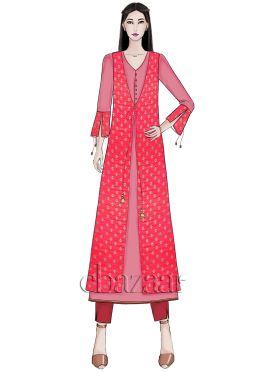 Bright Pink Front Open Jacket N Kurta Set
