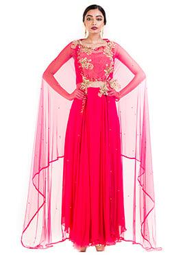 Bright Pink Georgette Indowestern Set