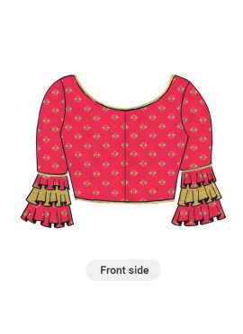 Bright Pink Patterned Silk Blouse