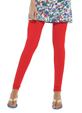 Go Colors Bright Red Cotton Churidar Bottom