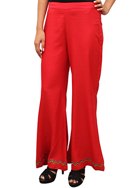 Bright Red Embroidered Palazzo Pant