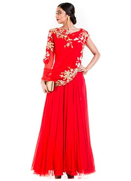 Bright Red Georgette Gown
