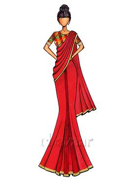 Bright Red Georgette Saree with a Multicolored Chanderi Silk Blouse
