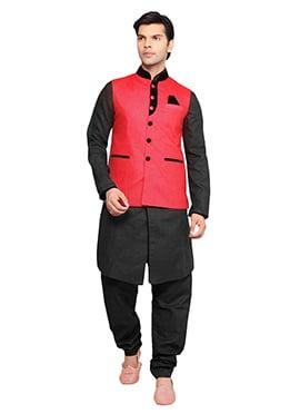 Bright Red Linen Nehru Jacket