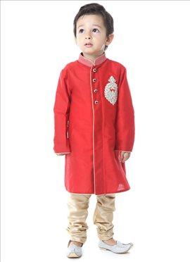 Bright Red N Beige Silk Cotton Kurta Pyjama