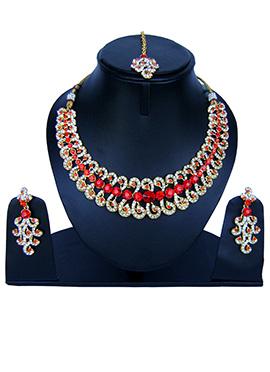 Bright Red N White Zircon Stone Necklace Set