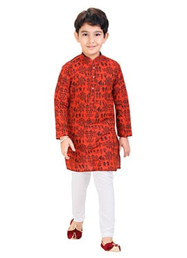 Bright Red Printed Kids Kurta Pyjama