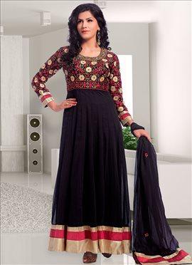 Brilliant Black Georgette Anarkali Suit