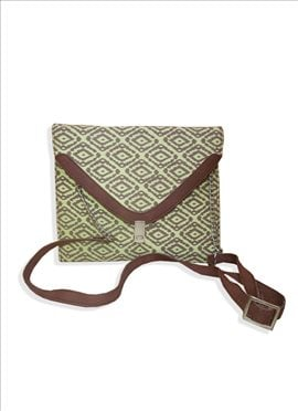 Brilliant Green Fancy Fabric Handbag