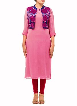 Brink Pink Embroidered Jacket Kurti