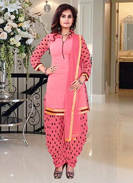 Brink Pink Georgette Patiala Suit