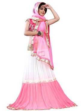 Brink Pink N White A Line Lehenga Choli