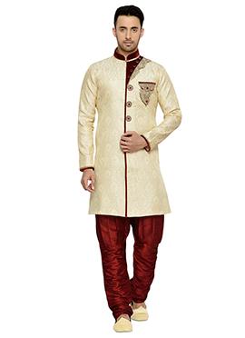 Brocade Deep Cream Indowestern Kurta Pyjama