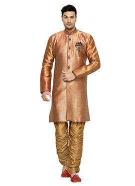 Brocade Deep Orange Indowestern Kurta Pyjama