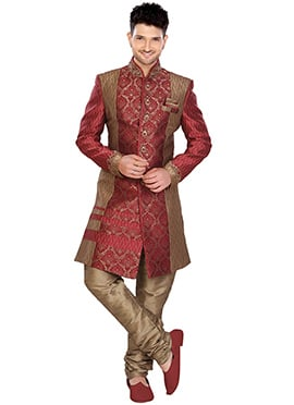 Brocade Maroon Indowestern Sherwani