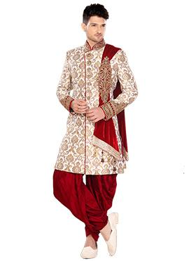 Brocade Off White Indowestern Sherwani