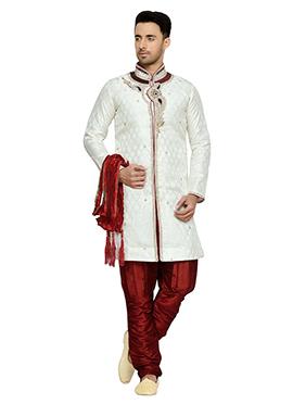 Brocade White Indowestern Kurta Pyjama