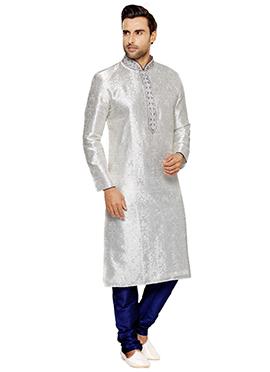 Brocade Off-White Kurta Pyjama