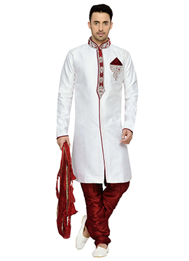Brocade White Kurta Pyjama