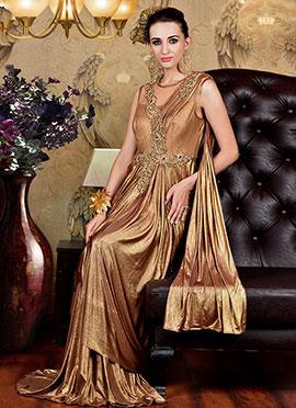 Bronze Lycra Saree Gown