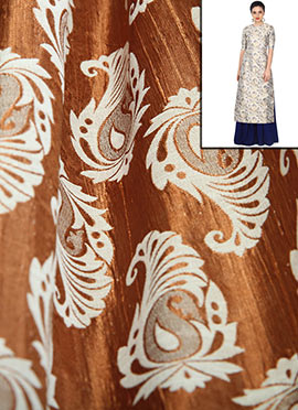 Bronze Shimmer with Off White Floral Weave Dress M