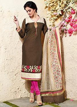 Brown Art Chanderi Silk Cotton Churidar Suit