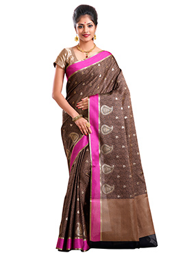 Brown Art Kora Silk Saree