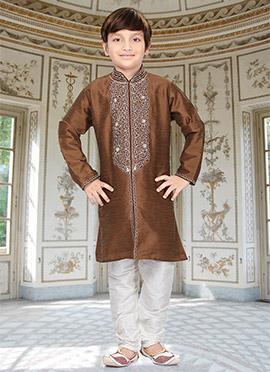 Brown Art Dupion Silk Kids Kurta Pyjama