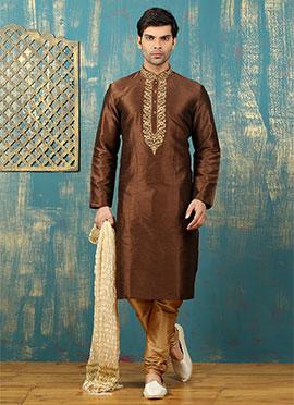 Brown Art Dupion Silk Kurta Pyjama