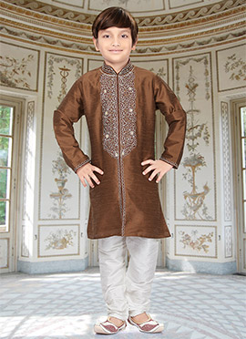 Brown Art Dupion Silk Teens Kurta Pyjama