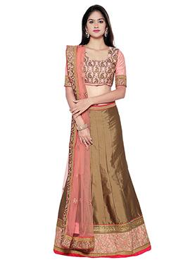 Brown Art Silk A Line Lehenga Choli