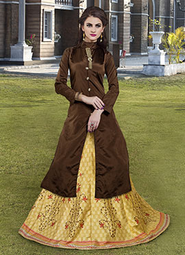 Brown Art Silk A Line Lehenga Choli