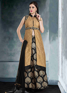 Brown Art Silk A Line Lehenga