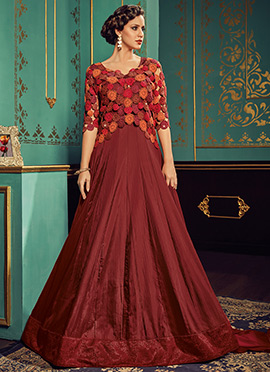 Brown Art Silk Abaya Style Anarkali Suit