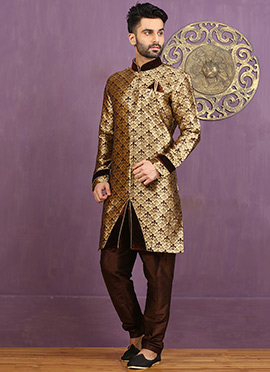 Brown Art Silk Achkan Sherwani