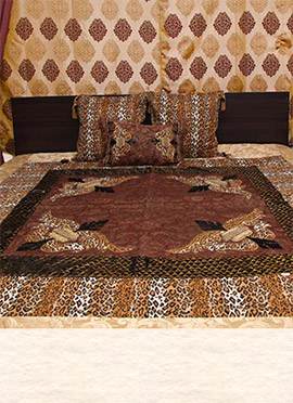 Brown Art Silk Bed Spread