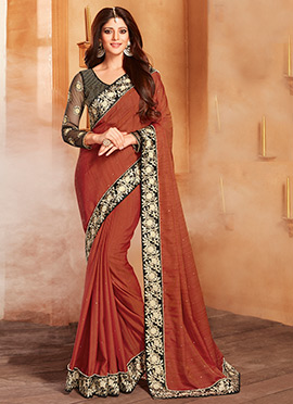 Brown Art Silk Border Saree
